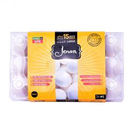 Jenan Egg White 15 Pieces Large Flip Top