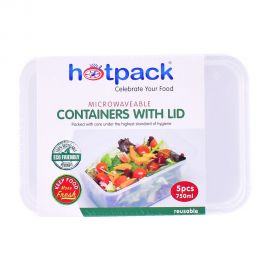 Hotpack Micro Wave Container Rectangular 5's 750mL