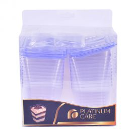 Platinum Care Square Dessert Cup With Lid & Spoon 20's