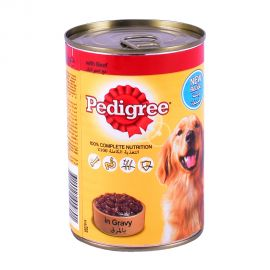 Pedigree Beef Chunks in Gravy-Wet Dog Food Can 400gm