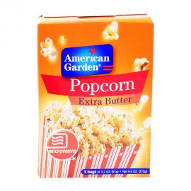 American Garden Microwave Popcorn E/butter 3x3.2oz